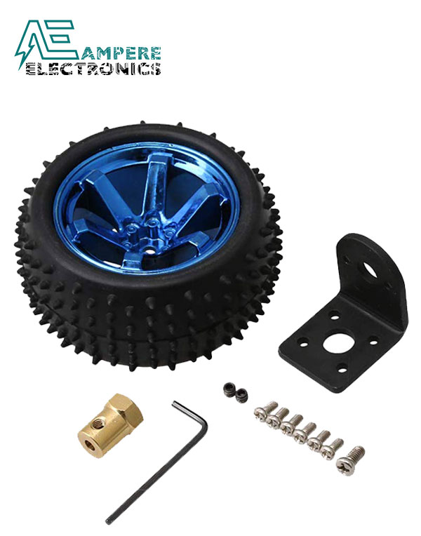 85mm Robot Tire Wheel With 4mm Connector and 25GA Motor Mounting Bracket
