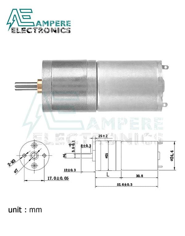 DC Gear Motor 12V 77 RPM  (25GA77)