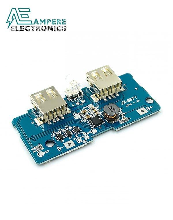 Dual USB 5V 1A 2.1A Mobile Power Bank Module + LED