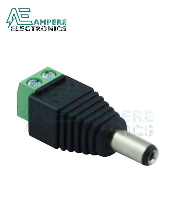 Male DC Power Plug to 2-Pin Screw Terminal