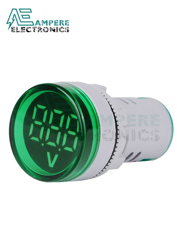 Round Digital Voltmeter 60-500Vac – 22mm – Green