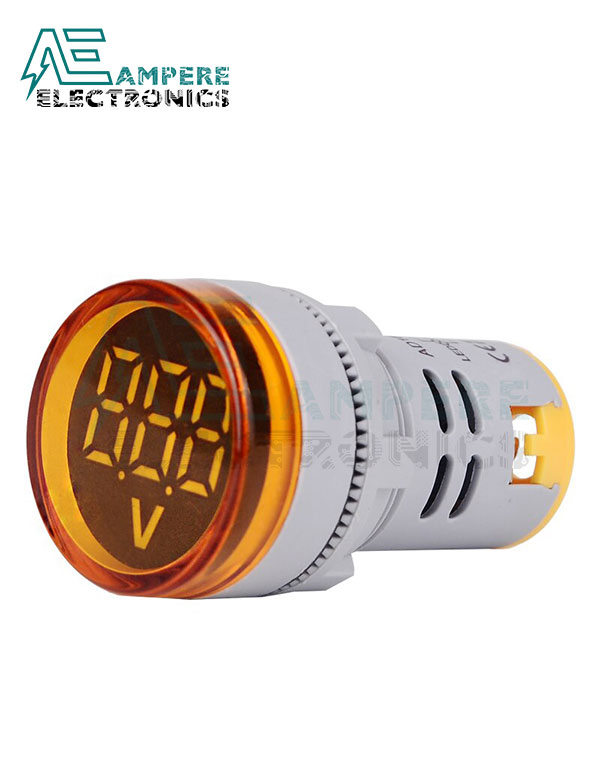 Round Digital Voltmeter 60-500Vac – 22mm – Yellow, 3 Digit