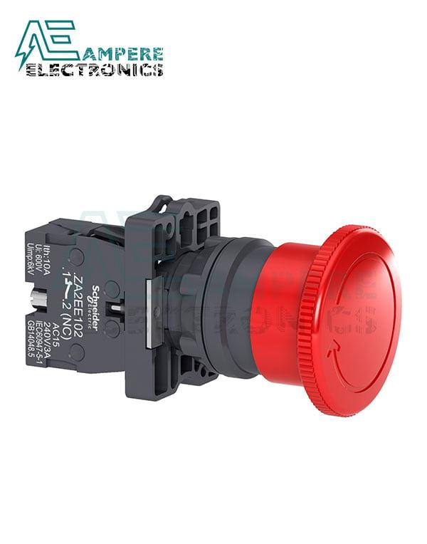XA2ES542 – Red Ø40 Emergency swtiching off push-button Ø22 non trigger – turn release 1NC, Schneider Electric