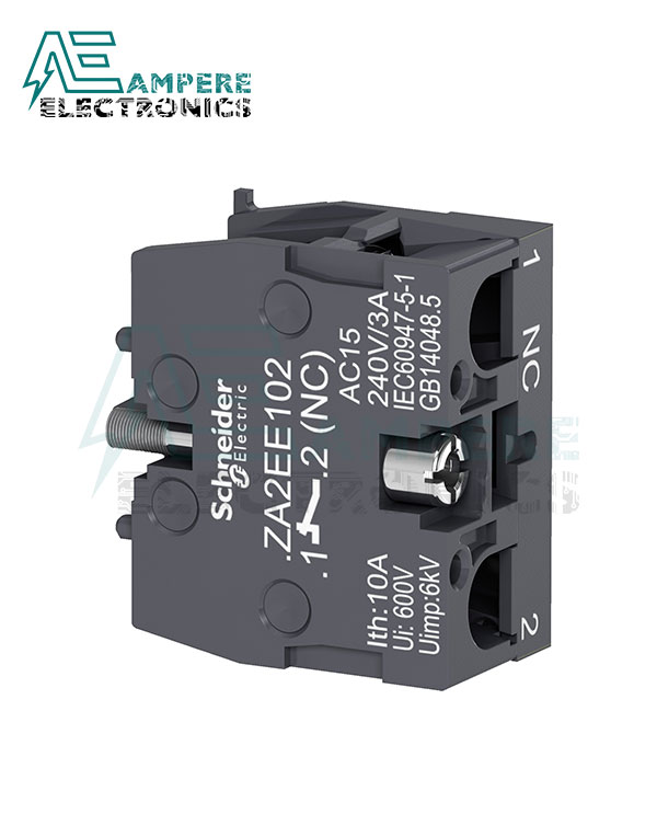 ZA2EE102 – Single contact block for head Ø22 – 1 NC, Schneider Electric