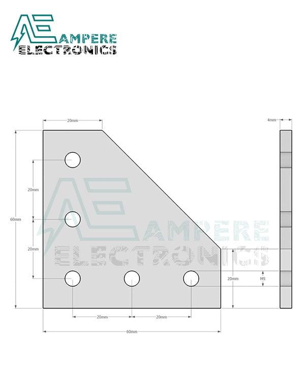 90 Degree Joining Plate 3mm   Black Aluminum