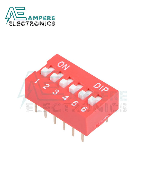 6 Way Red DIP Switch, 2.54mm Pitch
