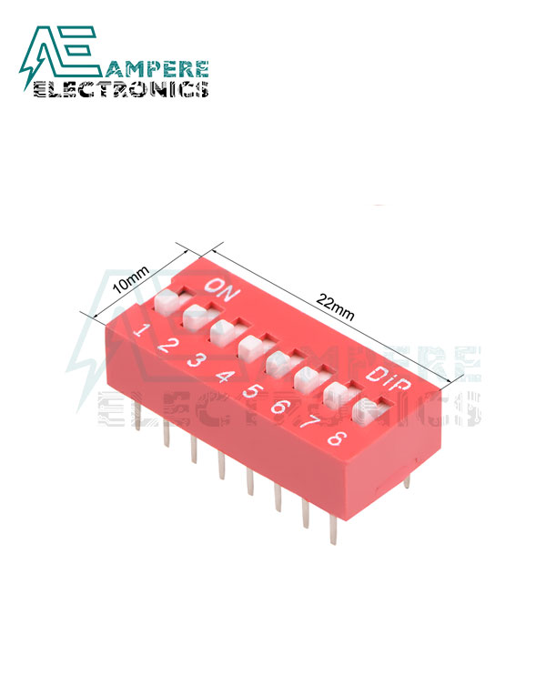 8 Positions Red DIP Switch Horizontal, 2.54mm Pitch