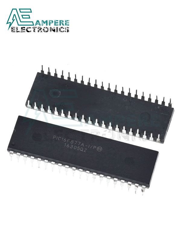 PIC16F877A-I/P Enhanced Flash MCU,8-Bit, 40-Pin DIP