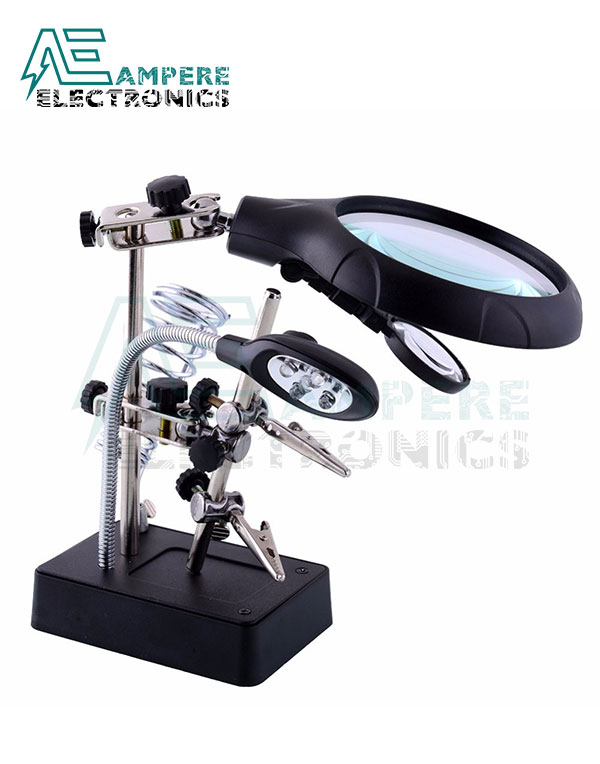 Soldering Magnifying Glass with 5 LED Auxiliary Clip Magnifier 3 In1