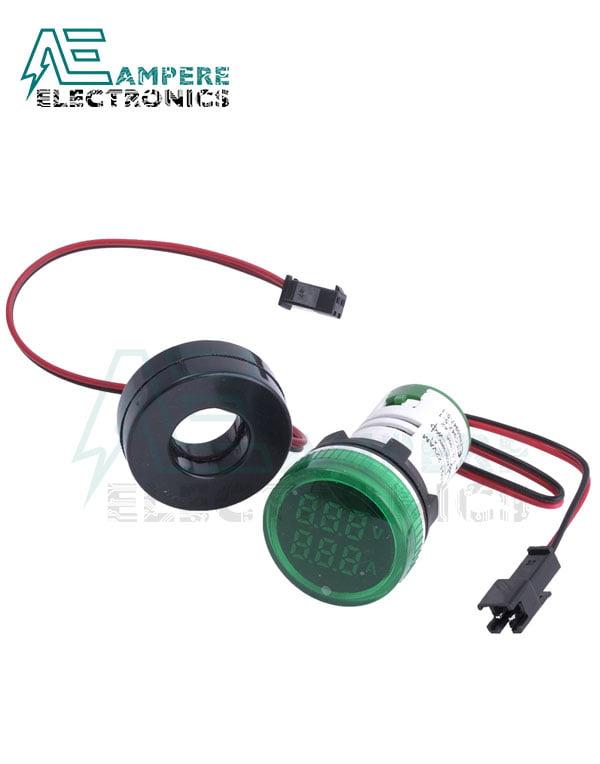 Indicator Voltmeter Ammeter Green Round – 0:100A -50:500VAC- 3 Digit – 22mm