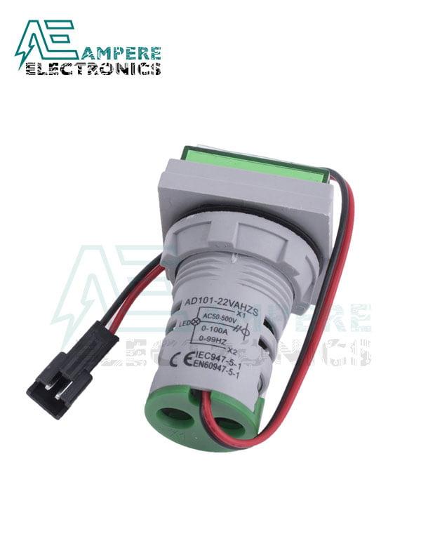 Indicator Voltmeter Ammeter Green Square – 0:100A -50:500VAC- 3 Digit – 22mm