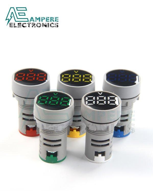 Indicator light Voltmeter RED Round – 20:500VAC – 3 Digit – 22mm