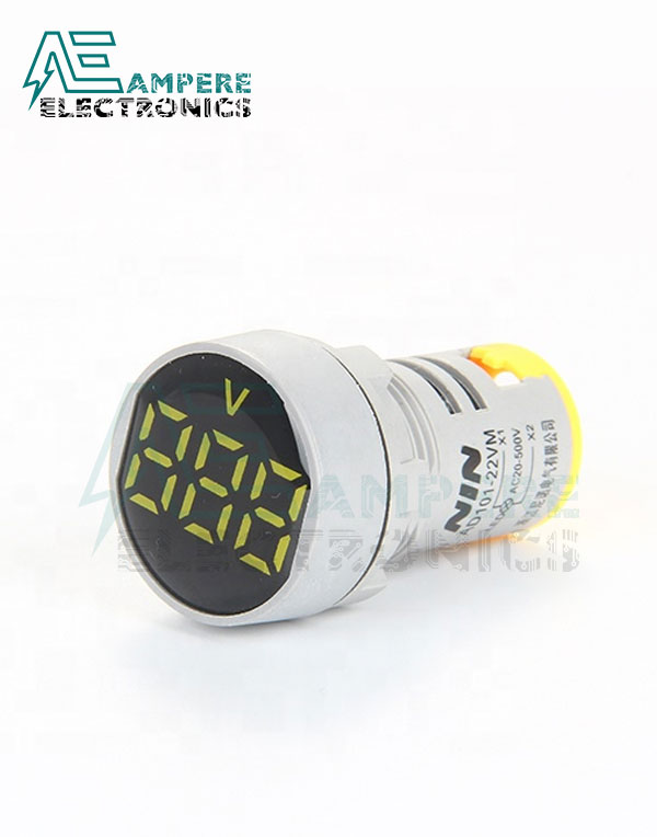 Indicator light Voltmeter Yellow – 20:500VAC- 3 Digit – 22mm