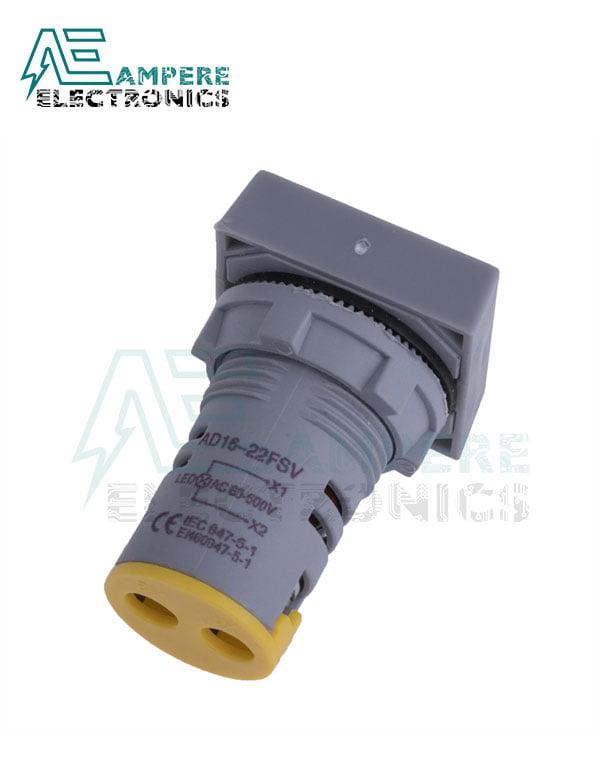 Indicator light Voltmeter Yellow square– 20:500VAC- 3 Digit – 22mm
