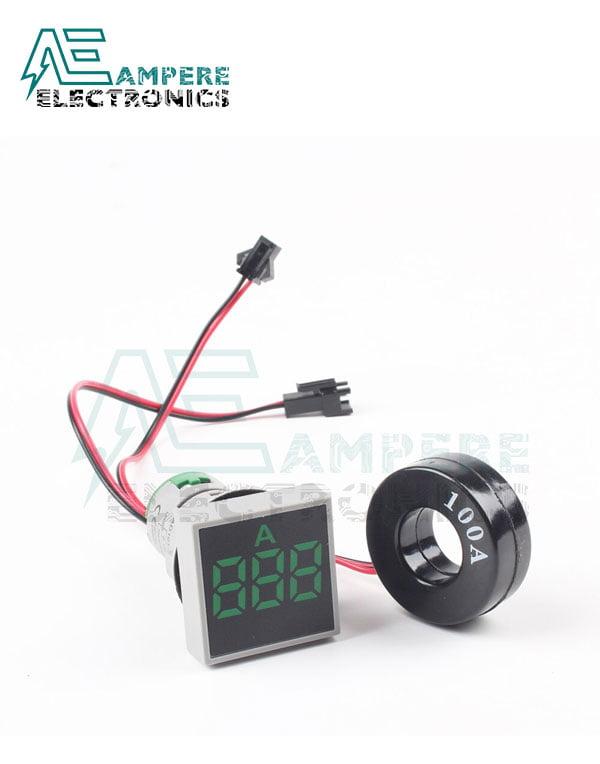Indicator Current Ammeter Green square – 0:100A -max 380VAC- 3 Digit – 22mm
