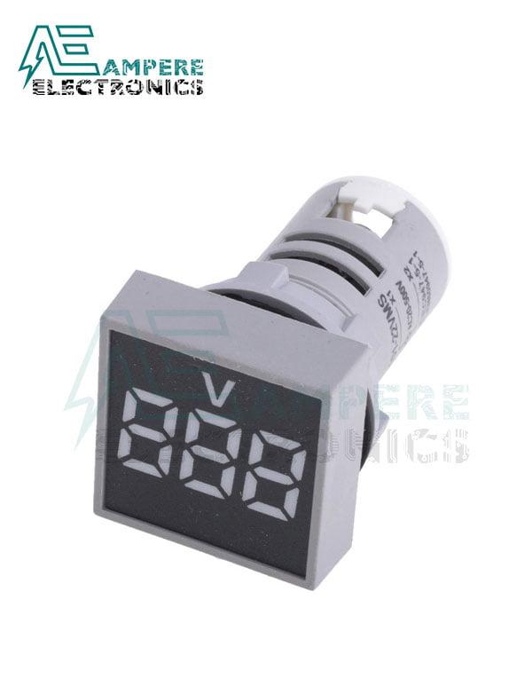 Indicator light Voltmeter White square– 20:500VAC- 3 Digit – 22mm