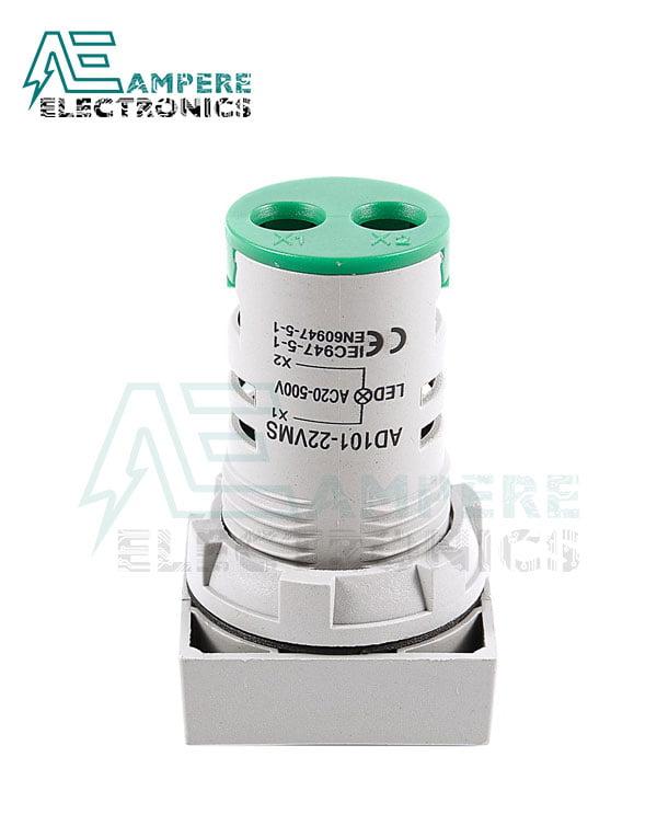 Indicator light Voltmeter Green square– 20:500VAC- 3 Digit – 22mm