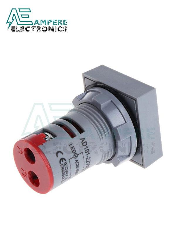 Indicator light Voltmeter Red square– 20:500VAC- 3 Digit – 22mm
