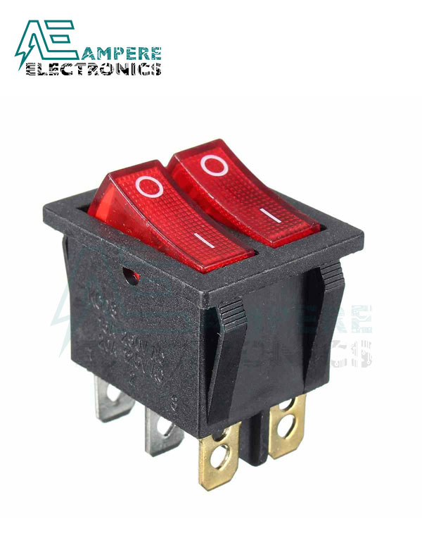 Double Boat Rocker Switch 6 Pins On-Off