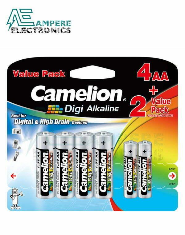 Camelion Digi Alkaline, Size AA 4Pcs, Size AAA 2Pcs (4LR6DG+2LR03DG)