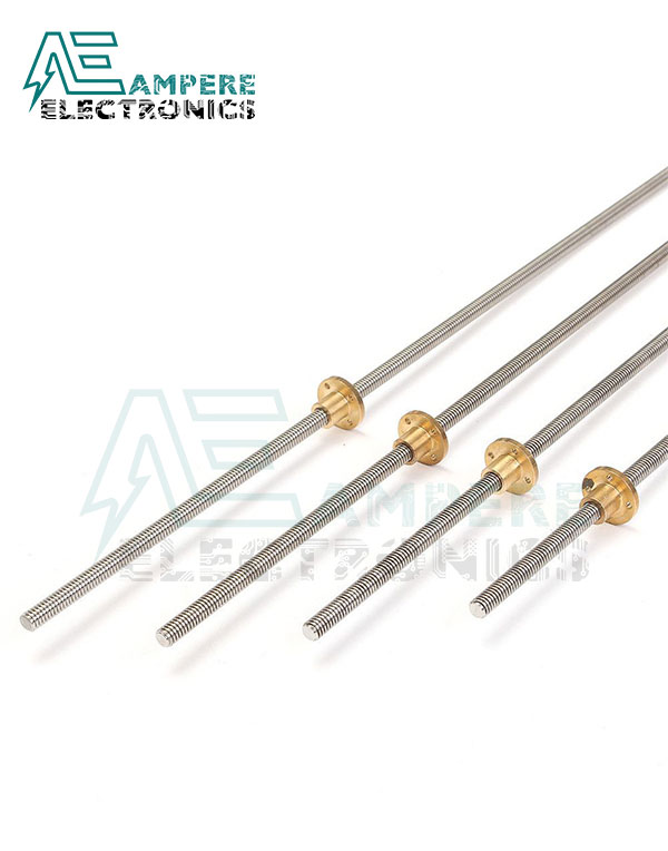 TR8x8 Acme Lead Screw, 4 Start, 2mm Pitch, 8mm Lead with Copper Nut