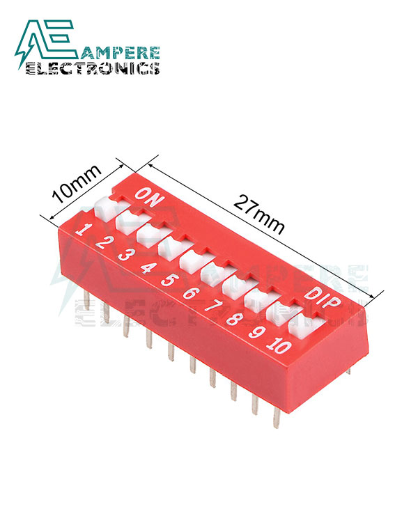 10 Way Red DIP Switch, 2.54mm Pitch