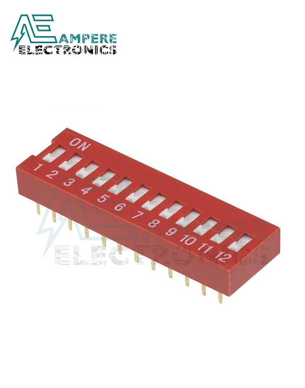 12 Way Red DIP Switch, 2.54mm Pitch