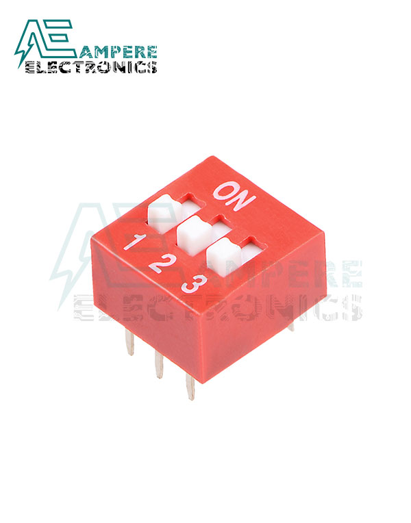 3 Way Red DIP Switch, 2.54mm Pitch