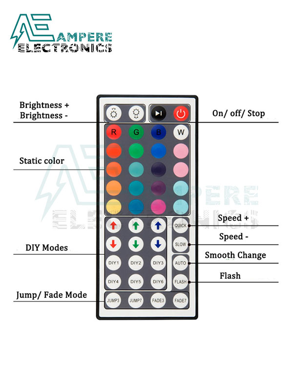 44-Key IR Remote Controller For RGB LED Strip