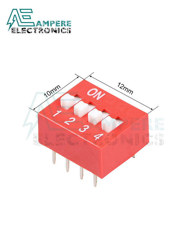4 Way Red DIP Switch, 2.54mm Pitch