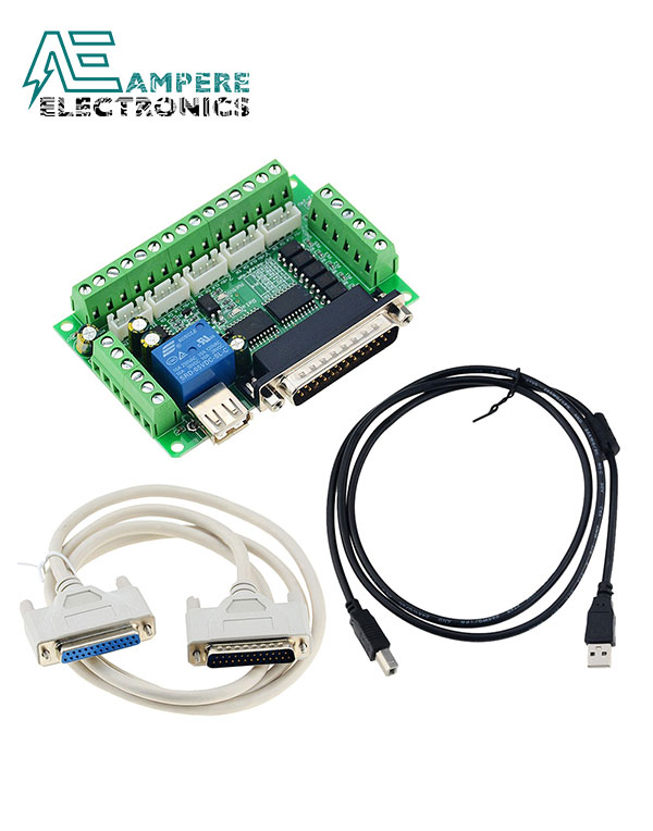 Mach3 CNC Breakout Board Interface 5 Axis With USB and DB25 Serial Cable