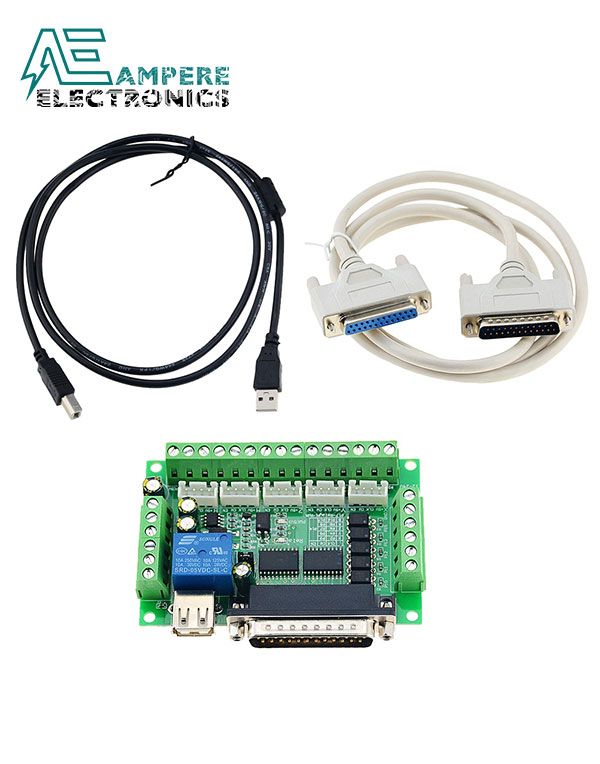 5 Axis CNC Breakout Board Interface Mach3 With USB and DB25 Serial Cable