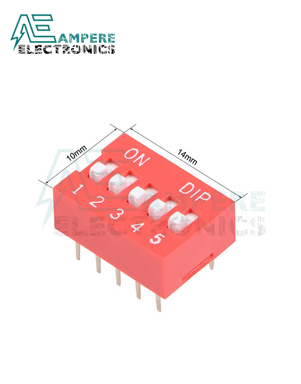 5 Way Red DIP Switch, 2.54mm Pitch