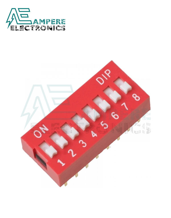 8 Way Red DIP Switch, 2.54mm Pitch