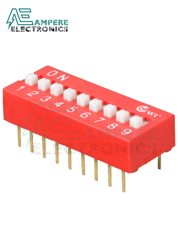 9 Way Red DIP Switch, 2.54mm Pitch