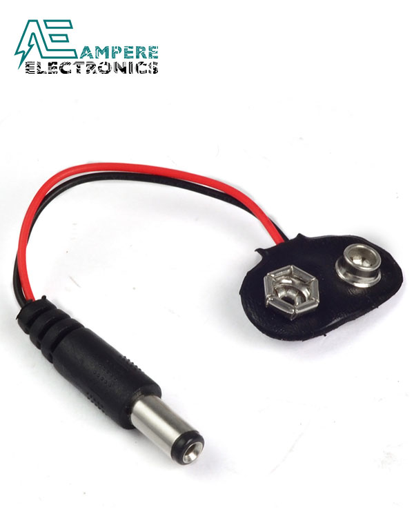 9V Battery Clip with standard DC Male Plug