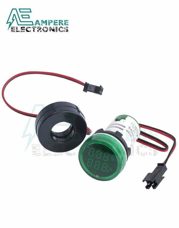 Indicator Voltmeter Ammeter Green Round – 0:100A – 50:500VAC – 3 Digit – 22mm