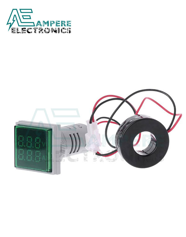 Indicator Voltmeter Ammeter Green Square – 0:100A – 50:500VAC – 3 Digit – 22mm
