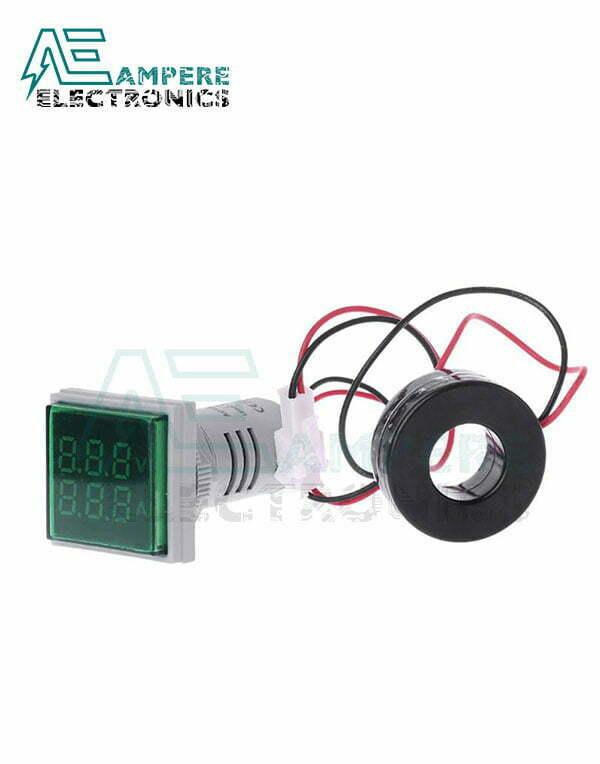 Indicator Voltmeter Ammeter Green Square – 0:100A – 50:500VAC – 3 Digit – 22mm