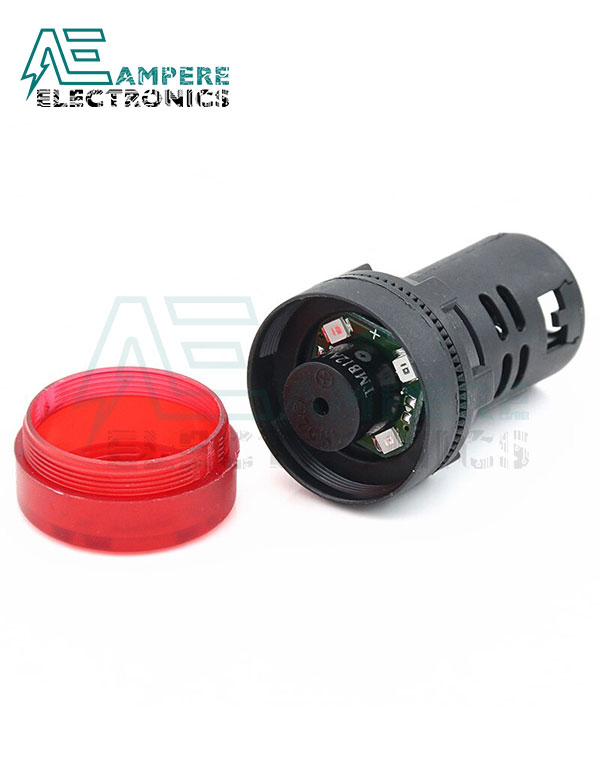 Flash Light Red LED Active Buzzer Beep Indicator 220V – 22mm