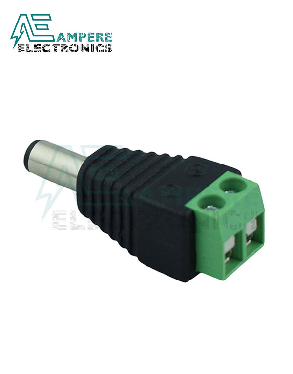 Male DC Power Plug to 2-Pin Screw Terminal
