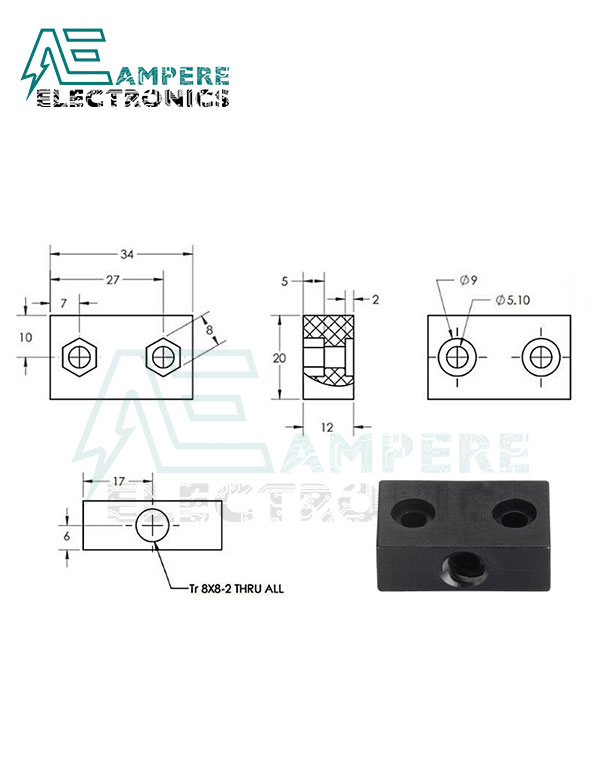 Nut Block for 8mm ACME Lead Screw