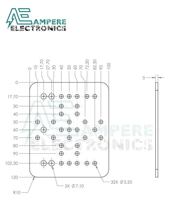 Aluminum OpenRail Gantry Plate 120x100x3mm | Openbuilds