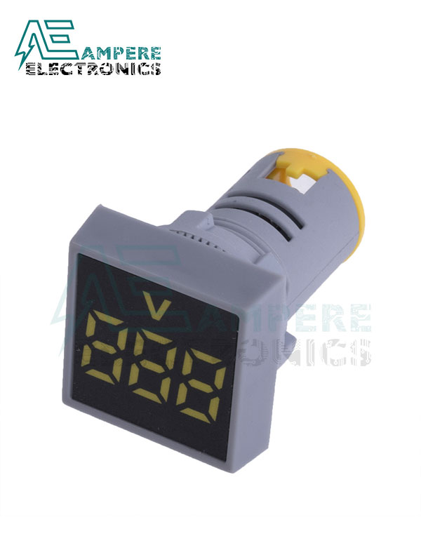 Indicator light Voltmeter Yellow Square – 20:500VAC – 3 Digit – 22mm