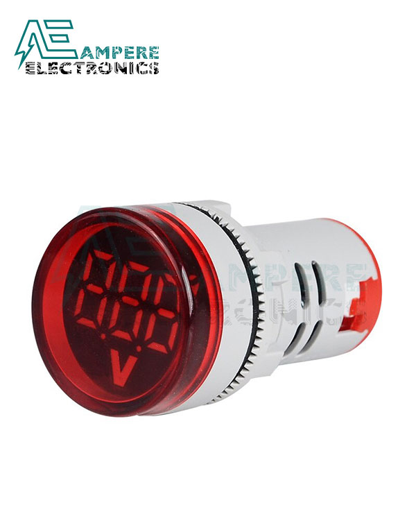 Round Digital Voltmeter 60-500Vac – 22mm – Red, 3 Digit
