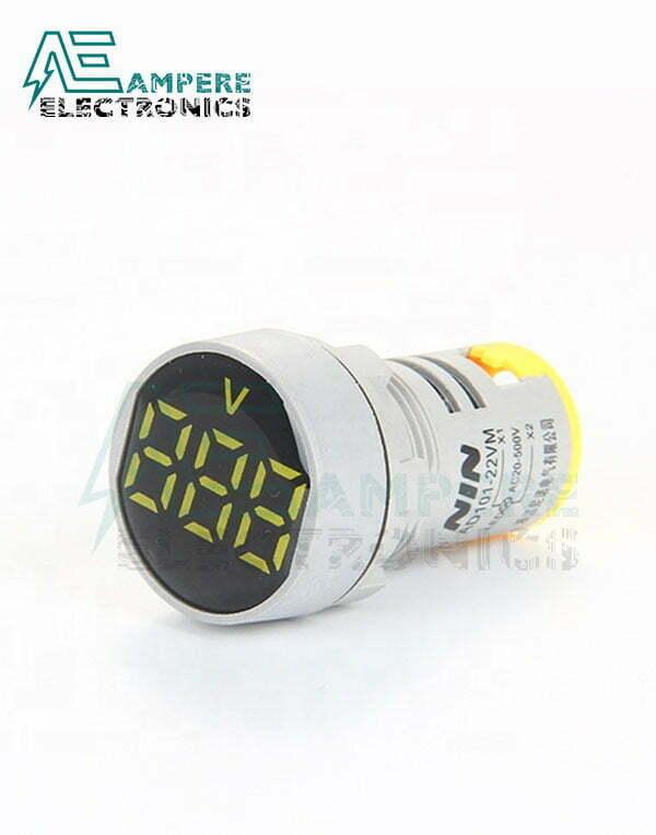 Indicator Voltmeter Yellow Round – 20:500VAC – 3 Digit – 22mm