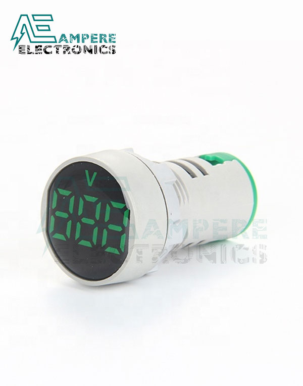 Indicator light Voltmeter Green Round – 20:500VAC – 3 Digit – 22mm