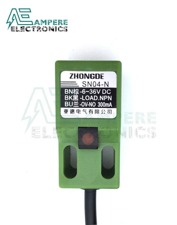 SN04 Square Proximity Sensor, NPN, NO, 5mm. 3 Wire