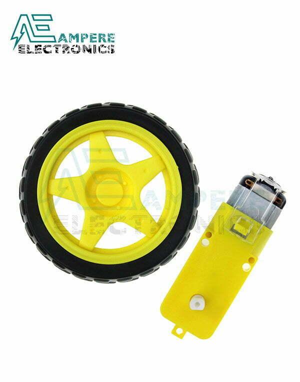 Smart Car Robot 3-6Vdc Geared Motor With 65mm Tire Wheel