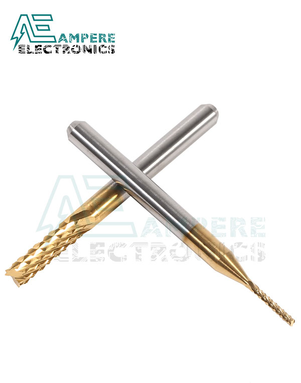 3.175mm Titanium Coated Carbide Flat End Mill, 3.175 Shank, Two Flute